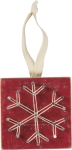 Red Snowflake String Art Hanging Ornament from Primitives by Kathy