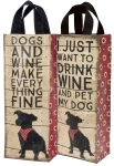 Dogs and Wine Make Everything Fine Wine Carrier Tote Bag from Primitives by Kathy