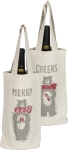 Merry Bear & Cheers Cotton Wine Carrier Tote Bag from Primitives by Kathy