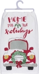 Car & Wreath Home for the Holidays Cotton Dish Towel 28x28 from Primitives by Kathy
