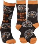 Turkey Design Gobble Till You Wobble Colorfully Printed Cotton Socks from Primitives by Kathy