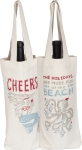 Holidays Are More Fun At The Beach Double Sided Wine Carrier Tote Bag from Primitives by Kathy