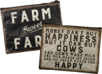 Farm Sweet Farm Rustic Double Sided Zipper Pouch Travel Bag from Primitives by Kathy