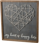 Large My Heart Is Happy Here String Art Decorative Wooden Box Sign 20x22 from Primitives by Kathy