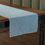 Stone Washed Blue Woven Cotton Table Runner Cloth 56x15 Primitives by Kathy