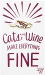 Cats And Wine Make Everything Fine Enamel Pin With Greeting Card from Primitives by Kathy