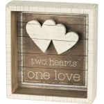 Two Hearts One Love Decorative Inset Wooden Box Sign 5.5x6 from Primitives by Kathy