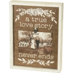 A True Love Story Never Ends Decorative Inset Wooden Box Sign With Photo Holder from Primitives by Kathy
