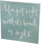 Life's Just Right With Beach In Sight Decorative Wooden Box Sign 26x26 from Primitives by Kathy