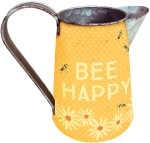 Polka Dot Flower & Bumblebee Design Bee Happy Metal Pitcher 6 Inch from Primitives by Kathy
