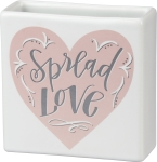 Spread Love Square Stoneware Vase 4x4 from Primitives by Kathy