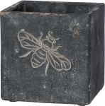 Dark Gray Bee Design Cement Planter 5x5 Primitives by Kathy