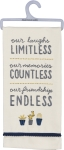 Our Laughs Limitless Memories Countless Cotton Dish Towel 18x26 from Primitives by Kathy