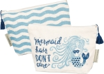 Mermaid Hair Don't Care Cotton Zipper Pouch Travel Bag from Primitives by Kathy