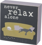 Dog Love Never Relax Alone Decorative Wooden Box Sign 5x5 from Primitives by Kathy