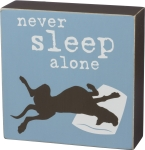 Dog Lover Never Sleep Alone Decorative Wooden Box Sign 5x5 from Primitives by Kathy