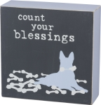 Dog Lover Count Your Blessings Decorative Wooden Box Sign 5x5 from Primitives by Kathy