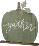 Large Pumpkin Shaped Gather Decorative Home Décor Wooden Sign 19.5x20.5 from Primitives by Kathy