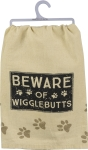 Dog Lover Beware Of Wigglebutts Cotton Dish Towel 28x28 Primitives by Kathy