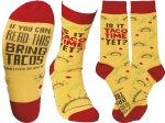 Is It Taco Time Yet? Colorfully Printed Cotton Socks from Primitives by Kathy