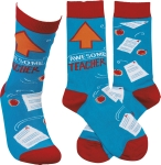 Awesome Teacher Colorfully Printed Socks by Artist LOL Made You Smile from Primitives by Kathy