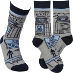 Introverts Unite Colorfully Printed Socks by Artist LOL Made You Smile from Primitives by Kathy