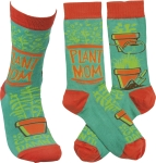 Plant Mom Grow Damn It Colorfully Printed Cotton Socks from Primitives by Kathy