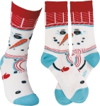 Snowman Design Colorfully Printed Cotton Socks from Primitives by Kathy