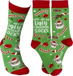 These Are My Ugly Christmas Socks Colorfully Printed Cotton Socks from Primitives by Kathy