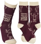 Friends Don't Let Friends Wine Alone Colorfully Printed Socks from Primitives by Kathy