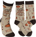 As Long As We Have Wine The Holidays Will Be Fine Colorfully Printed Cotton Socks from Primitives by Kathy