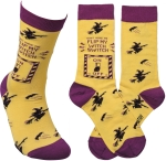 Don't Make Me Flip My Witch Switch Colorfully Printed Cotton Socks from Primitives by Kathy