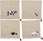 Set of 4 Farm Animals Themed Cotton & Linen Cocktail Napkins from Primitives by Kathy