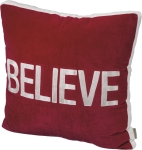 Red & White Holiday Themed Believe Decorative Velvet Throw Pillow 25x25 from Primitives by Kathy