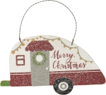 Camper Shaped Merry Christmas Hanging Wooden Wall Décor Sign 8x4.5 from Primitives by Kathy