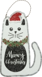 Cat Lover Meowy Christmas Hanging Metal Ornament 8 Inch from Primitives by Kathy