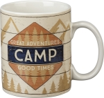 Great Adventures Camp Good Times Double Sided Stoneware Coffee Mug 20 Oz from Primitives by Kathy
