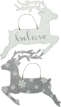 Reindeer Themed Believe Metal Hanging Wall Décor Sign from Primitives by Kathy