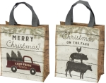 Merry Christmas On The Farm Double Sided Daily Tote Bag from Primitives by Kathy