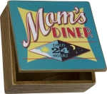 Mom's Diner Decorative Hinged Wooden Keepsake Box 7x7 from Primitives by Kathy