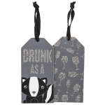 Set of 6 Drunk As a Skunk Wooden Wine Bottle Tags from Primitives by Kathy