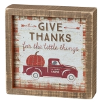 Pumpkin Truck Give Thanks For The Little Things Decorative Inset Wooden Box Sign 6x6 from Primitives by Kathy