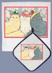 Persian Cats With Flower Crowns Dish Towel & Pot Holder Set from Pipsqueak Productions