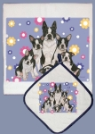 Boston Terrier Dog Family Dish Towel & Pot Holder Set from Pipsqueak Productions