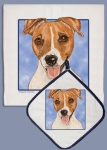 Jack Russell Terrier Dog Lover Dish Towel & Pot Holder Set from Pipsqueak Productions
