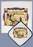 Little Golden Retriever Patriots Dog Lover Dish Towel & Pot Holder Set from Pipsqueak Productions