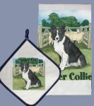 Border Collie Dog In Sheep Pen Dish Towel & Pot Holder Set from Pipsqueak Productions