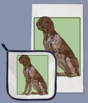 German Pointer Dog Dish Towel & Pot Holder Set from Pipsqueak Productions
