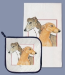 Greyhound Dogs Lover Dish Towel & Pot Holder Set from Pipsqueak Productions