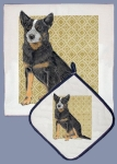 Australian Cattle Dog Dish Towel & Pot Holder Set from Pipsqueak Productions